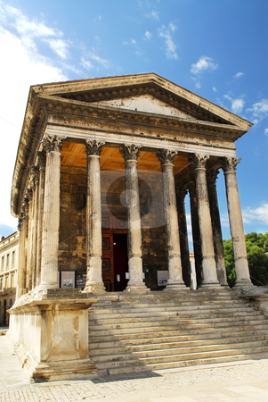 Roman temple in Nimes France stock photo, Roman temple Maison Carree in city of Nimes in southern France by Elena Elisseeva