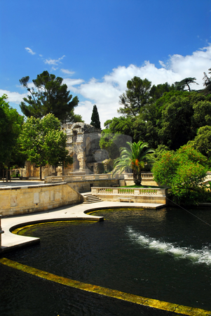 Jardin de la Fontaine in Nimes France stock photo, Park Jardin de la Fontaine in city of Nimes in southern France by Elena Elisseeva