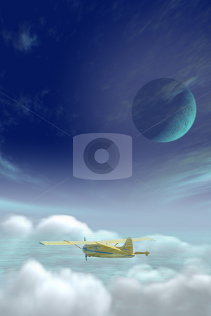Flying stock photo, A yellow plane flying high in the sky by Richard Nelson