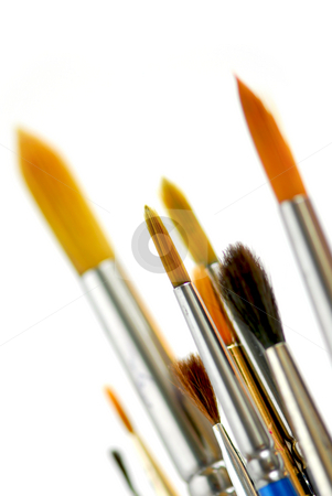 Paintbrushes  stock photo, Closeup of paintbrushes on white background by Elena Elisseeva