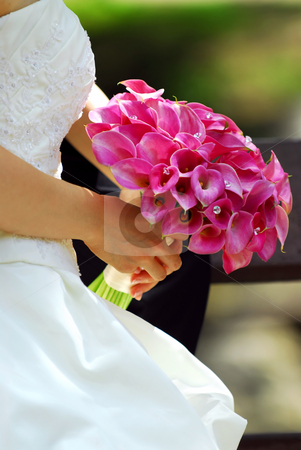 Bride with bouquet stock photo, Bride in wedding gown holding bouquet of pink flowers by Elena Elisseeva