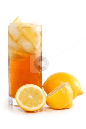 Iced tea stock photo, Glass of lemon cold iced tea with lemons on white background by Elena Elisseeva