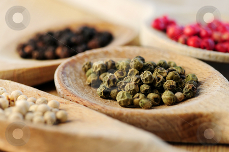 Assorted peppercorns stock photo, Four kinds of peppercorns in wooden cooking spoons, macro by Elena Elisseeva