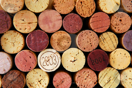 Wine corks stock photo, Background of assorted wine corks close up by Elena Elisseeva