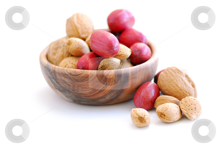 Assorted nuts stock photo, Assorted whole nuts - walnuts, pecans, almonds - isolated on white background by Elena Elisseeva