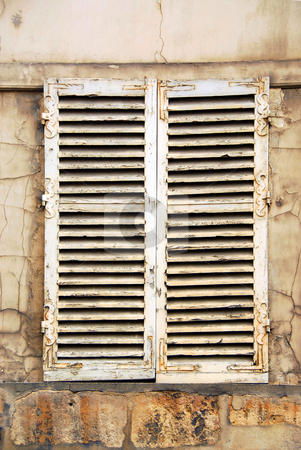 Old window stock photo, Old window with shatters in Paris France by Elena Elisseeva