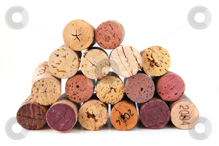 Wine corks stock photo, A pile of various wine corks on white background by Elena Elisseeva
