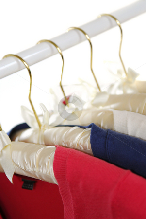 Sweaters stock photo, Colorful women's sweaters on a rack on padded hangers by Elena Elisseeva