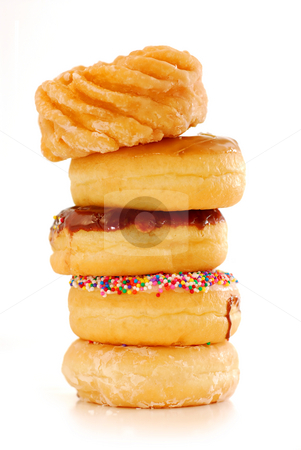 Donuts stock photo, Tower of assorted donuts isolated on white background by Elena Elisseeva