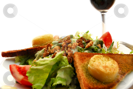 Healthy lunch stock photo, Healthy lunch of green salad with toast and goat cheese by Elena Elisseeva