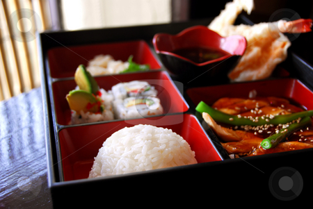 Japanese food stock photo, Assorted japanese food bento served a wooden box by Elena Elisseeva