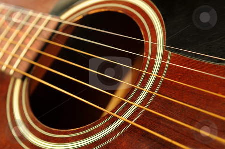 Guitar close up stock photo, Body of an acoustic guitar close up by Elena Elisseeva