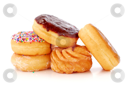 Donuts stock photo, Pile of assorted donuts isolated on white background by Elena Elisseeva