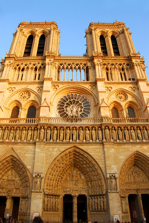 Notre Dame de Paris stock photo, Cathedral of Notre Dame de Paris in evening sun by Elena Elisseeva