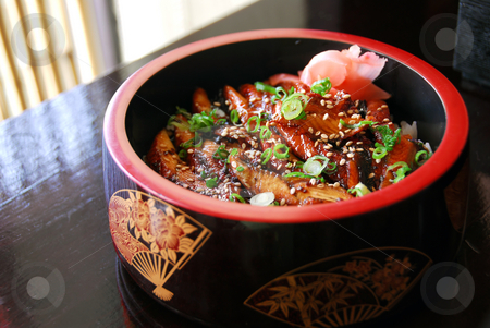 Japanese food stock photo, Gourmet japanese food barbequed eel served in a decorated wooden bowl by Elena Elisseeva
