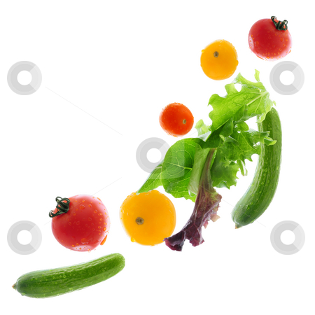 Fresh vegetables flying stock photo, Assorted fresh vegetables flying isolated on white background by Elena Elisseeva
