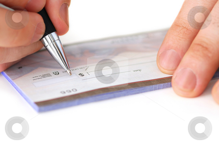 Writing a check stock photo, Closeup of man's hands writing a cheque by Elena Elisseeva
