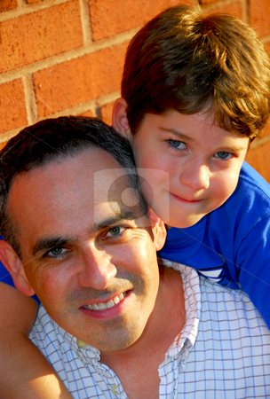 Father son portrait stock photo, Portrait of a father and son by Elena Elisseeva