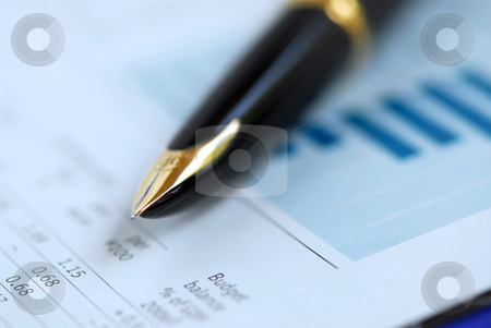 Pen finance graph stock photo, Golden fountain pen on financial papers by Elena Elisseeva