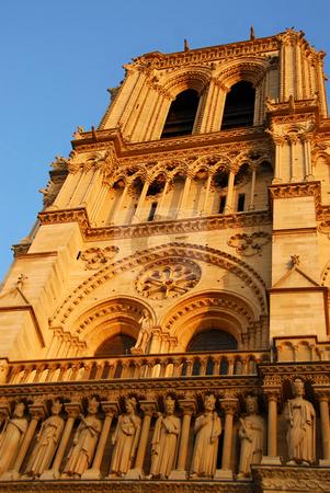 Notre Dame de Paris stock photo, Cathedral of Notre Dame de Paris in evening sun,  fragment by Elena Elisseeva