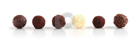 Chocolate truffles stock photo, Row of assorted chocolate truffles on white background by Elena Elisseeva
