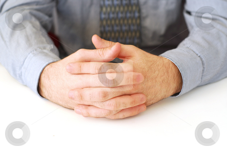 Hands stock photo, Closeup of businessman's hands on white background by Elena Elisseeva
