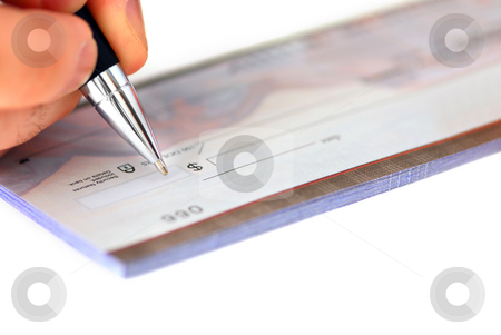 Writing a check stock photo, Closeup of man's hand writing a cheque by Elena Elisseeva