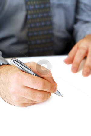 Writing stock photo, Closeup of businessman's hands on white background holding a pen by Elena Elisseeva