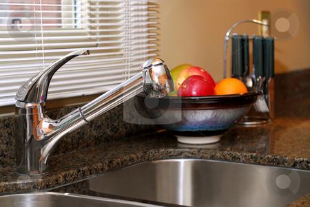 Kitchen interior stock photo, Interior of a modern kitchen with stainless steel double sink by Elena Elisseeva