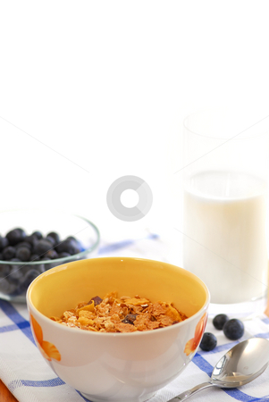 Healthy breakfast stock photo, Healthy breakfast of cereal, milk and blueberries served on a table on sunny morning by Elena Elisseeva