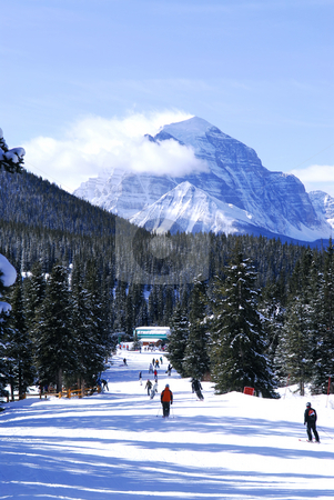 Skiing in mountains stock photo, Downhill skiing in Canadian Rocky mountains with scenic view by Elena Elisseeva