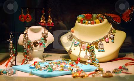 Jewelry stock photo, Fashion jewelry displayed in a jewelry store window by Elena Elisseeva