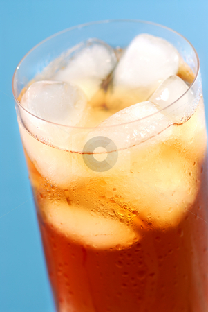 Iced tea stock photo, Glass of regular cold iced tea with water drops on surface by Elena Elisseeva