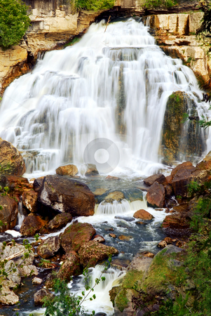 Waterfall stock photo, Cascading waterfall in wilderness in Ontario, Canada. by Elena Elisseeva