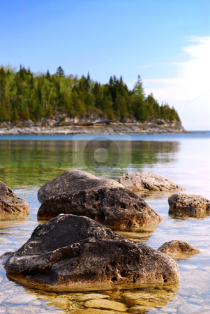 Lake landscape stock photo, Rocks in clear water of Georgian Bay at Bruce peninsula Ontario Canada by Elena Elisseeva