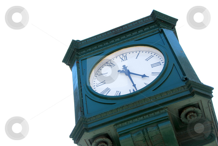 City clock stock photo, Old public clock isolated on white background by Elena Elisseeva