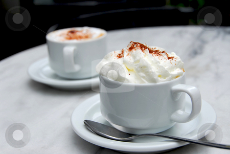 Coffee stock photo, Two cups of coffee on a table by Elena Elisseeva