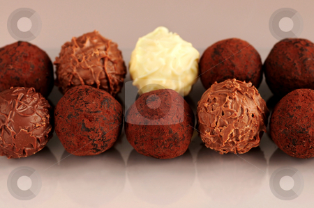 Chocolate truffles stock photo, Several assorted chocolate truffles in rows on brown background by Elena Elisseeva
