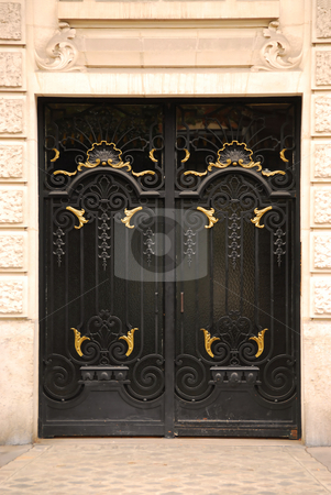 Doors stock photo, Black iron doors in old building in Paris France by Elena Elisseeva