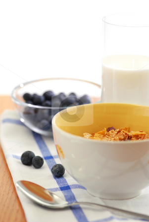 Healthy breakfast stock photo, Healthy breaksfast of cereal, milk and blueberries by Elena Elisseeva