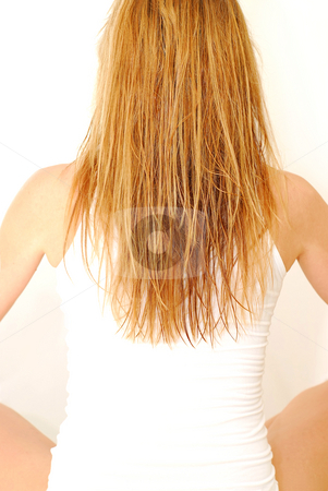 Young woman stock photo, Young woman with wet blond hair relaxing by Elena Elisseeva