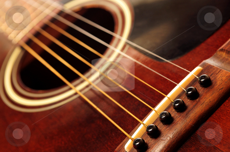 Old guitar close up stock photo, Body of an old acoustic guitar close up by Elena Elisseeva