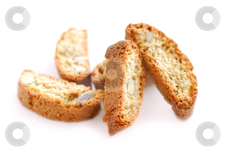Biscotti stock photo, Traditional italian almond biscuits - biscotti, on white background by Elena Elisseeva