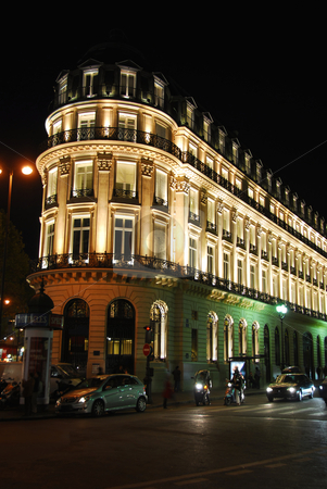 Night Paris stock photo, Illuminated building in Paris France at night by Elena Elisseeva