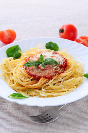 Plate of pasta stock photo, Big plate of pasta with tomato basil sauce and parmesan by Elena Elisseeva