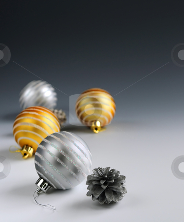 Christmas ornaments stock photo, Christmas background with glass bauble ornaments and pine cones by Elena Elisseeva