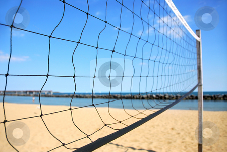 Volleyball net stock photo, Beach volleyball net in perspective on a sandy beach by Elena Elisseeva