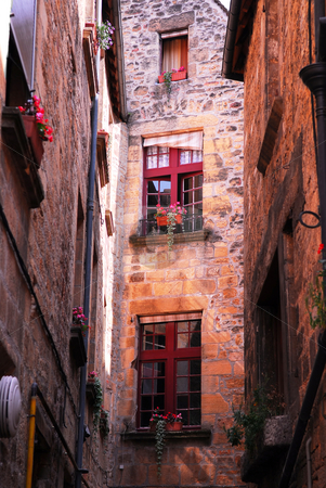 Medieval architecture stock photo, Detail of medieval architecture in historical town of Sarlat, France by Elena Elisseeva