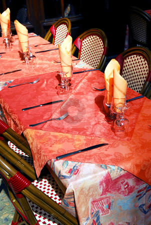 Restaurant patio stock photo, Set table with tablecloth and glasses on restaurant outdoor patio by Elena Elisseeva