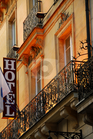 Paris hotel stock photo, Hotel building in Paris France with wrought iron balconies by Elena Elisseeva